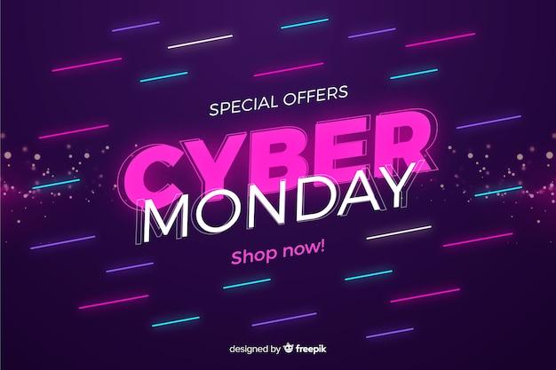 Concetto di cyber lunedì in desing piatto Vettore gratuito