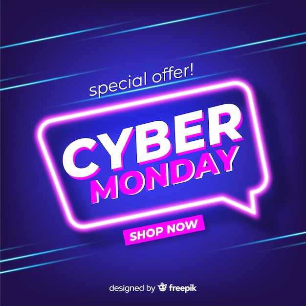 Cyber monday concept with flat design background Free Vector