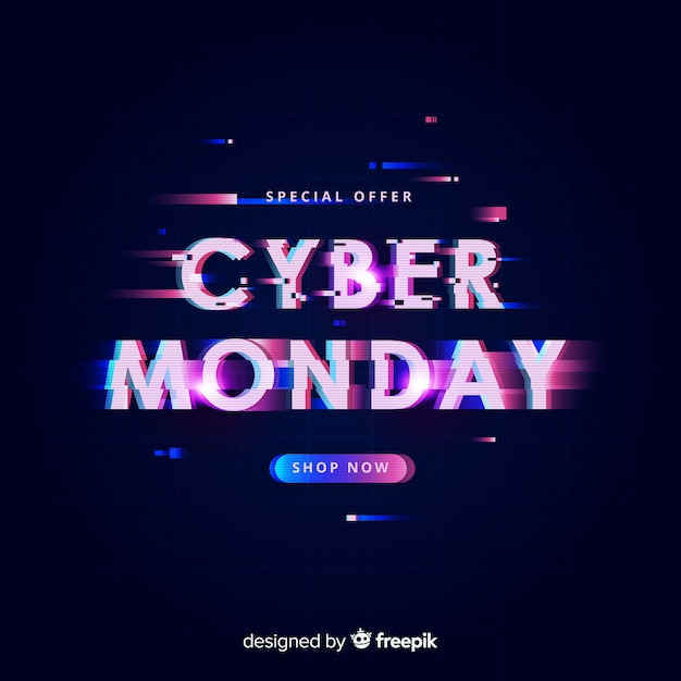Cyber monday concept with glitch effect Free Vector
