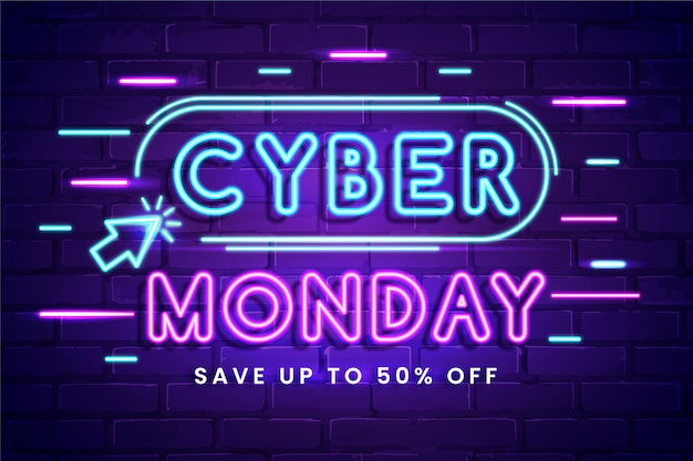 Cyber monday concept with neon design Free Vector