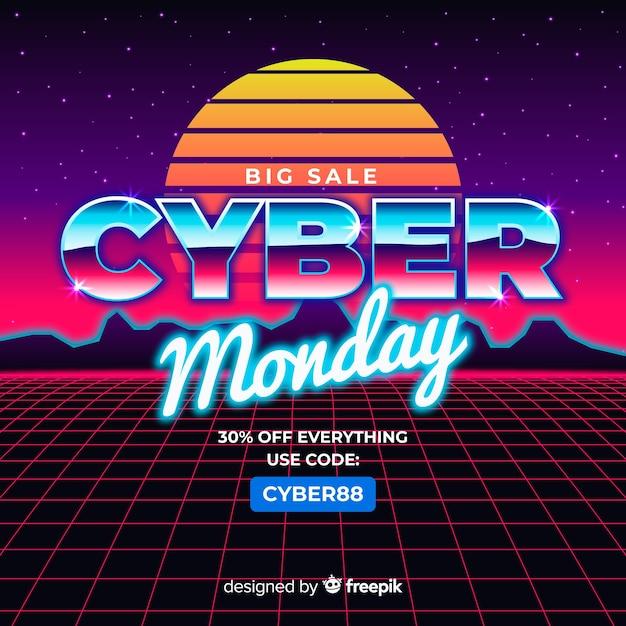 Cyber monday concept with retro futuristic background Free Vector