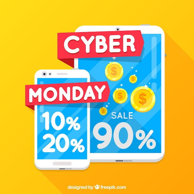 Cyber monday concept with smartphone and tablet