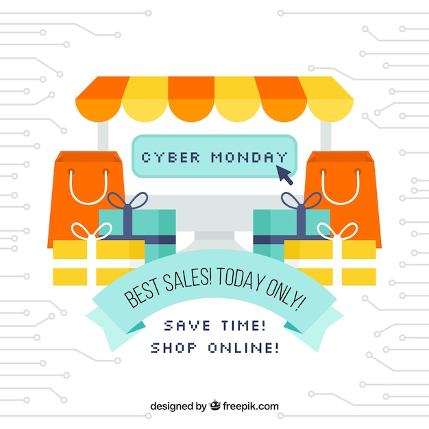 Cyber monday concept with store