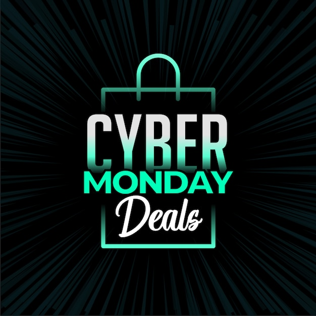 Cyber monday deals and shopping banner design Free Vector