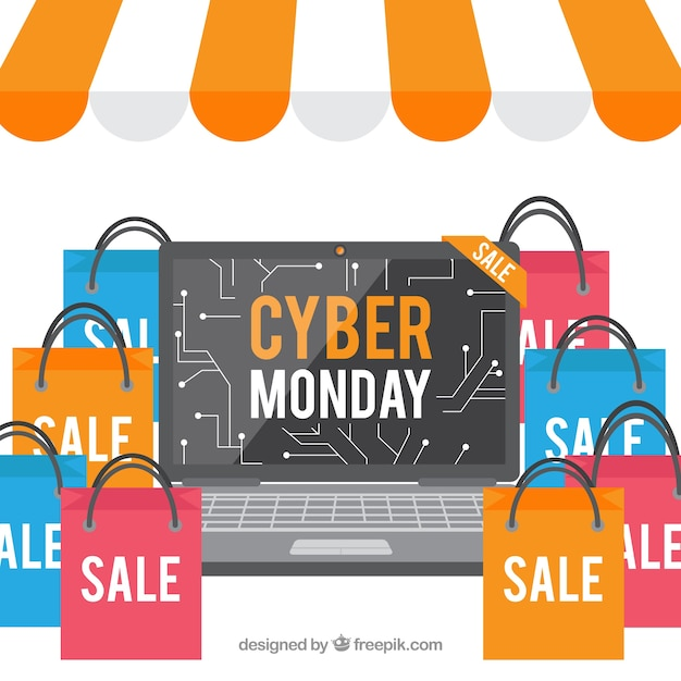 Cyber monday design with bags in flat style