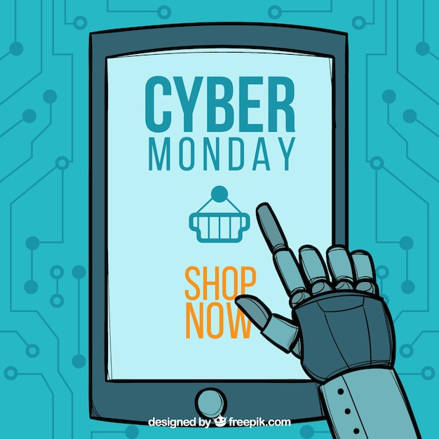 Cyber monday design with robot and tablet Free Vector