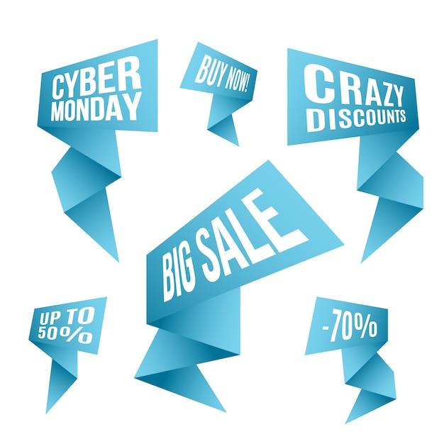 Cyber monday discount design set. Premium Vector