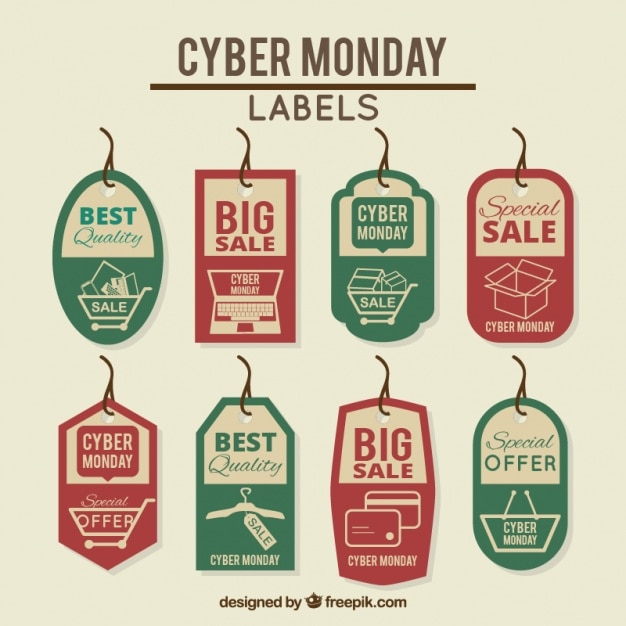 cyber monday discount retro labels