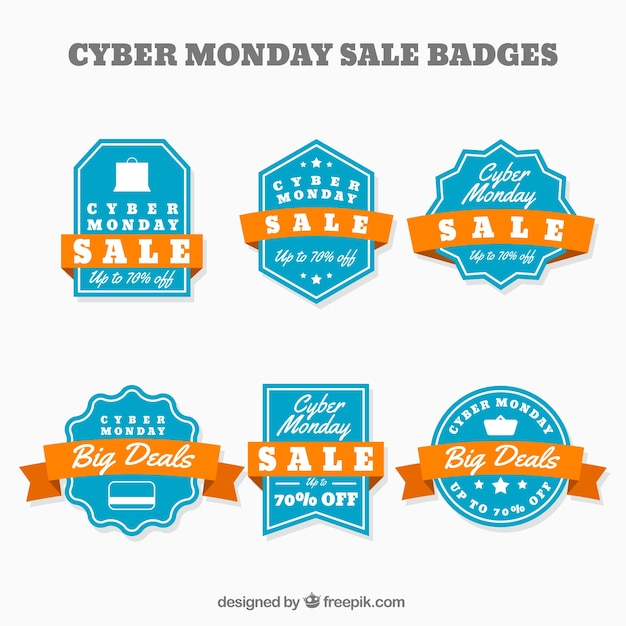 Cyber monday discount stickers set