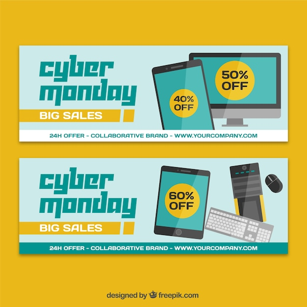 cyber monday discounts banners