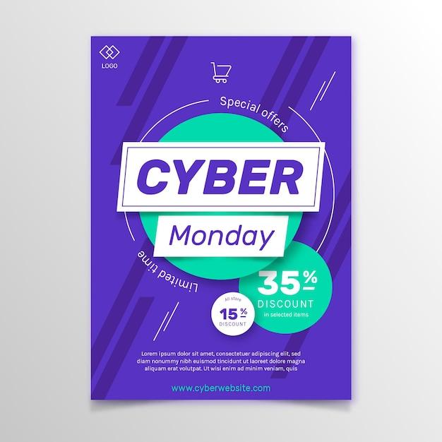 Modello di volantino design piatto di cyber lunedì Vettore gratuito