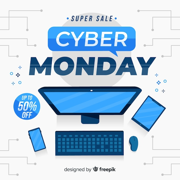 Cyber monday on flat design Free Vector