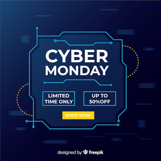 Cyber monday in flat design Free Vector