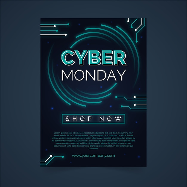 Cyber monday flyer template in flat design Free Vector