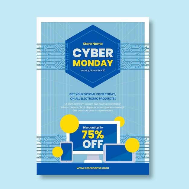 Modello di volantino cyber lunedì in design piatto Vettore gratuito