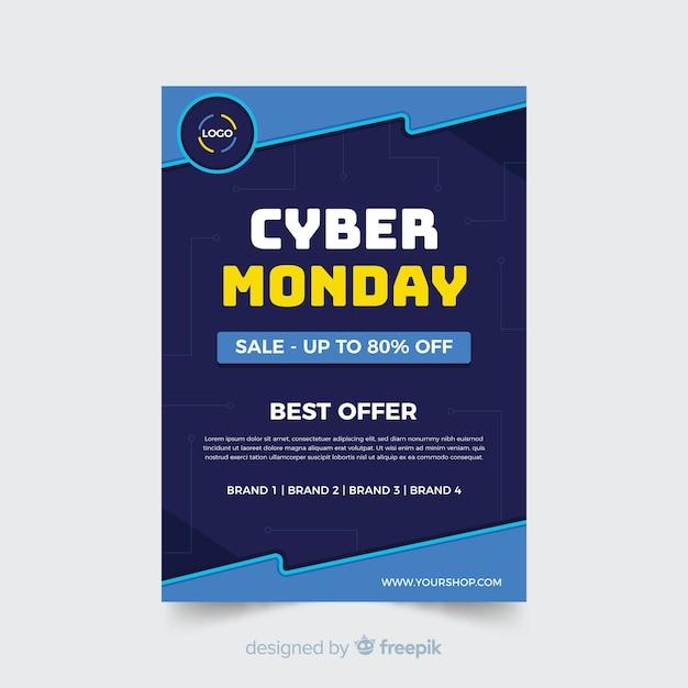 Кибер понедельник флаер шаблон в плоском дизайне Бесплатные векторы