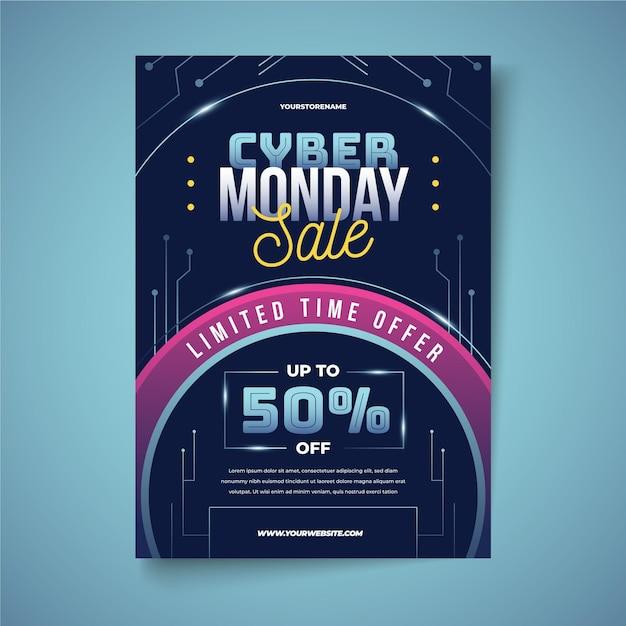 Modello di volantino cyber lunedì in stile realistico Vettore gratuito