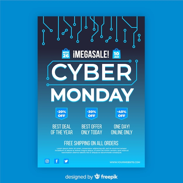 Cyber monday flyer template with flat design Free Vector