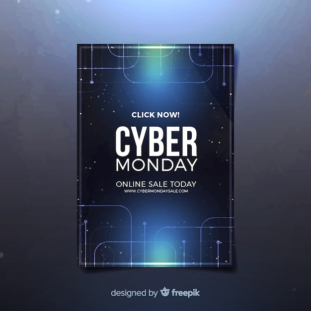 Cyber monday flyer template with realistic design Free Vector