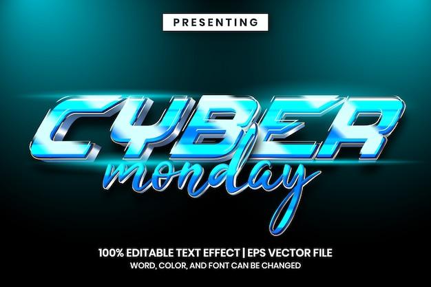 サイバー月曜日未来テクノテキスト効果スタイル Premiumベクター