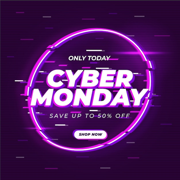Cyber monday glitch banner template Free Vector