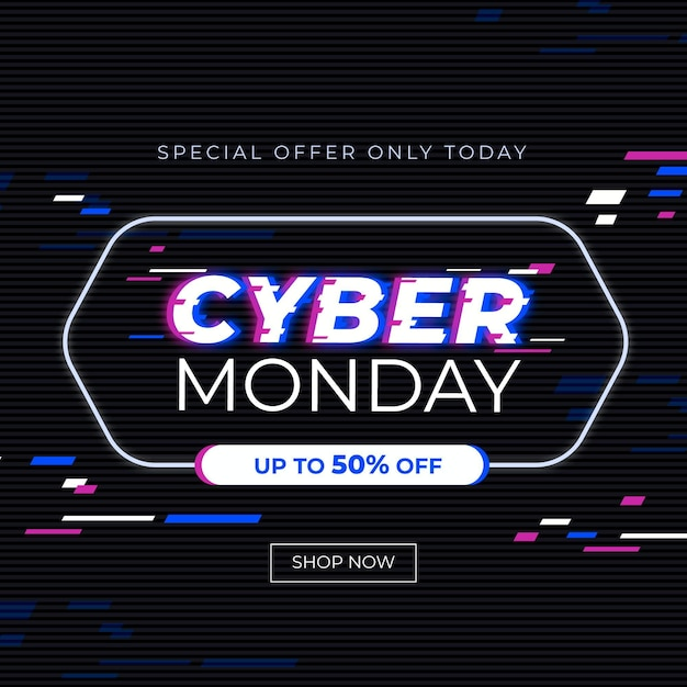 Cyber monday glitch banner Free Vector
