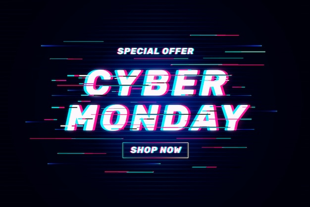 Cyber monday glitch offer banner Free Vector