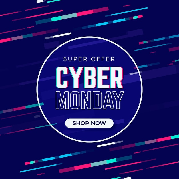 Cyber monday glitch promo banner Free Vector