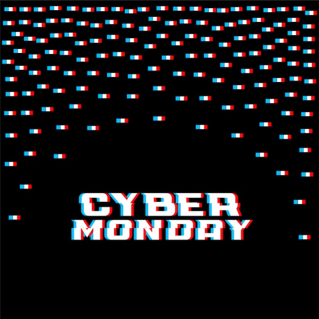 Cyber monday glitch style background Free Vector