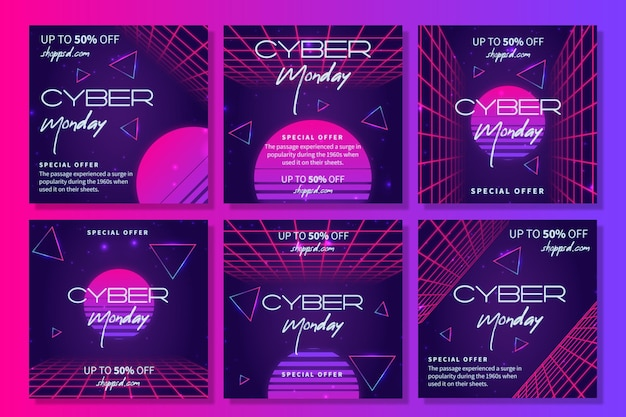 Cyber monday ig stories collection Premium Vector