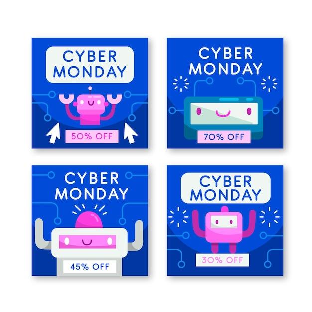 Raccolta di post di instagram di cyber lunedì Vettore gratuito