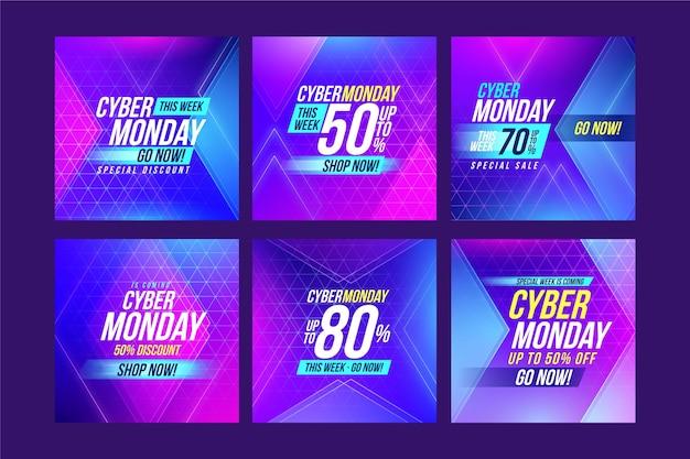 Cyber monday instagram posts Free Vector