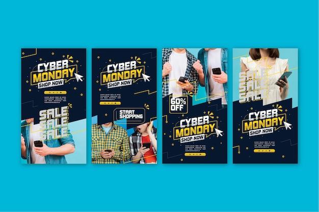 Raccolta di storie di instagram di cyber lunedì Vettore gratuito