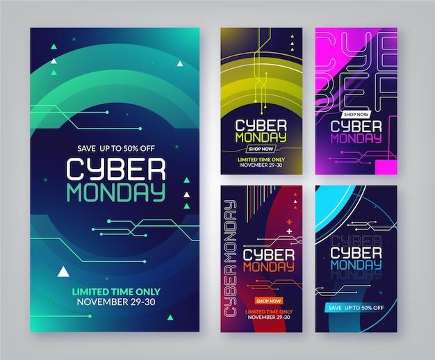 Cyber monday instagram stories collection Premium Vector