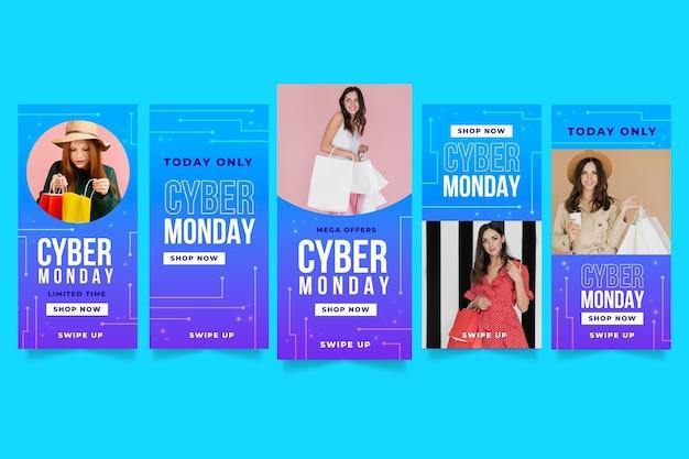 Cyber monday instagram stories set Premium Vector