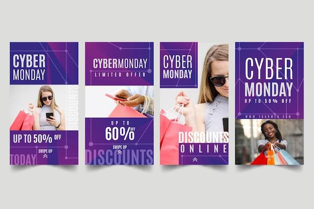 Cyber monday instagram stories Premium Vector