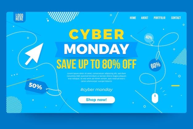 Pagina di destinazione del cyber lunedì Vettore gratuito