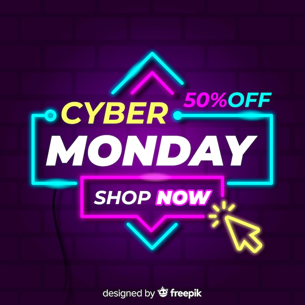 Cyber monday neon sign background Free Vector