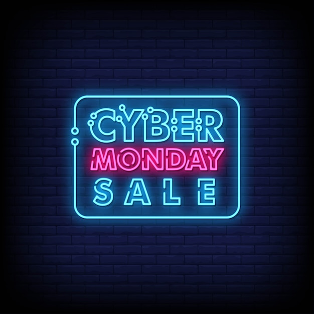 Cyber monday neon signs style text vector Premium Vector
