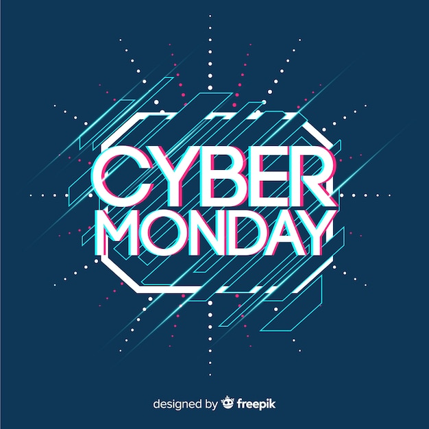 Cyber monday sale background with glitch effect Free Vector