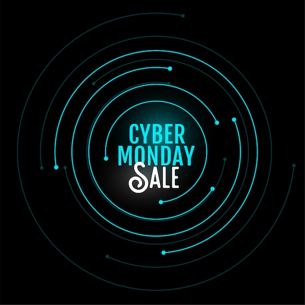 Cyber monday sale banner  in circular style design Free Vector