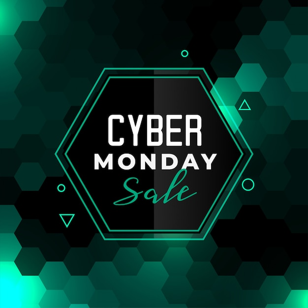 Cyber monday sale banner  in hexagonal style Free Vector