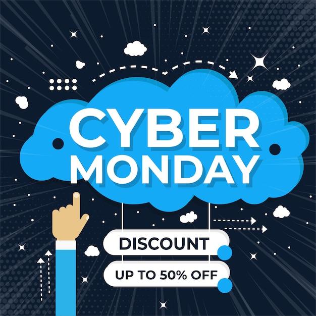 Cyber monday sale banner set elements premium vector pack Premium Vector