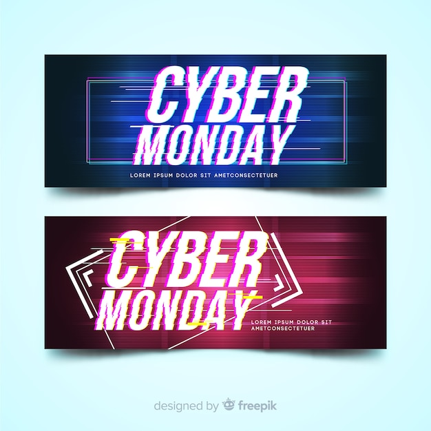Cyber monday sale banner set with glitch effect Free Vector
