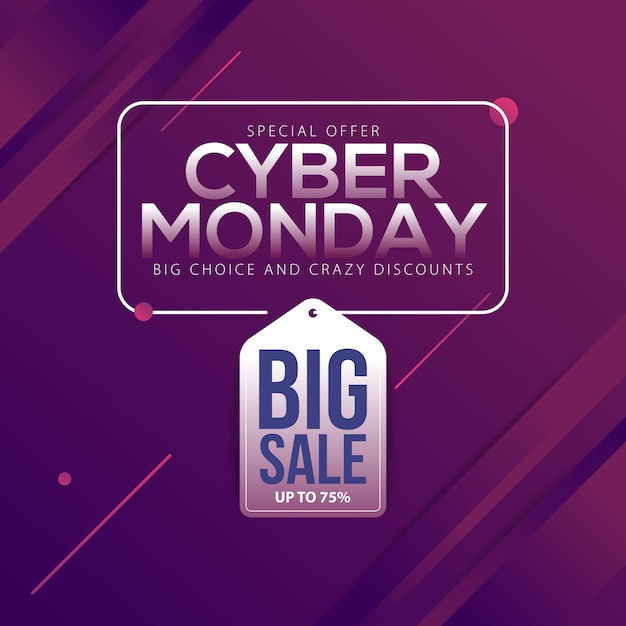 c792db0269d Cyber monday sale banner with trendy geometric background Vector ...