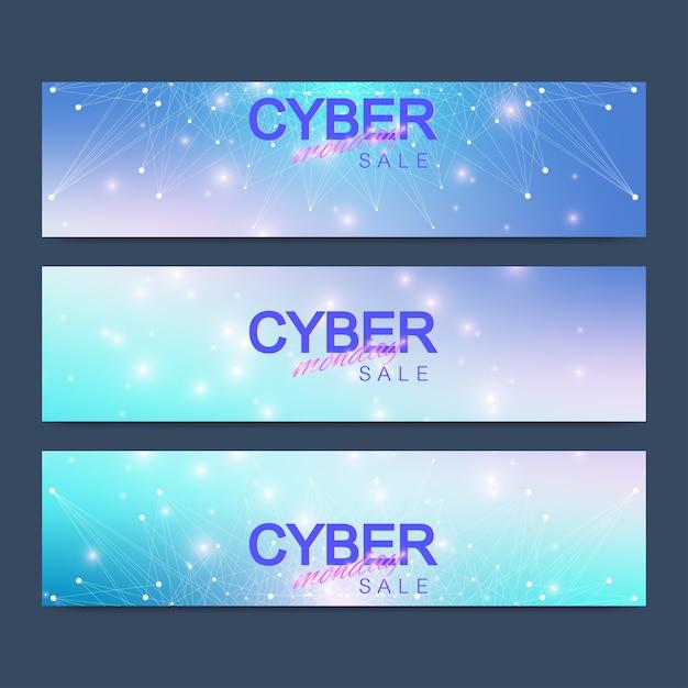 Киберпонедельник распродажа баннер. Premium векторы