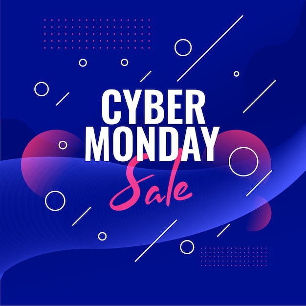 Cyber monday sale discount banner for online shopping Free Vector