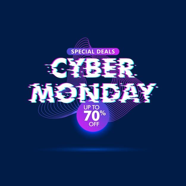Cyber monday sale glitch effect background Premium Vector