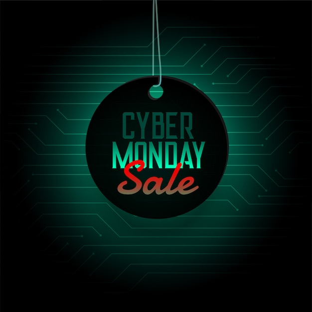 Cyber monday sale hanging tag design banner Free Vector