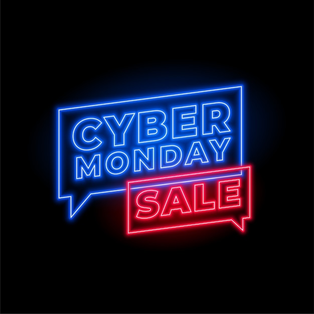 Cyber monday sale in neon style banner design Free Vector